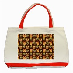 Eye Owl Line Brown Copy Classic Tote Bag (Red)