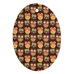 Eye Owl Line Brown Copy Oval Ornament (Two Sides)