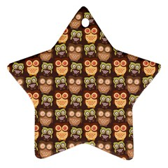 Eye Owl Line Brown Copy Star Ornament (Two Sides)