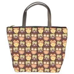Eye Owl Line Brown Copy Bucket Bags