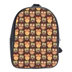 Eye Owl Line Brown Copy School Bags(Large)
