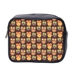 Eye Owl Line Brown Copy Mini Toiletries Bag 2-Side
