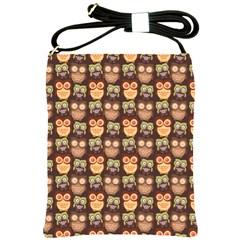 Eye Owl Line Brown Copy Shoulder Sling Bags