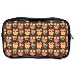 Eye Owl Line Brown Copy Toiletries Bags 2-Side