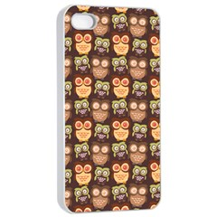Eye Owl Line Brown Copy Apple iPhone 4/4s Seamless Case (White)