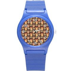 Eye Owl Line Brown Copy Round Plastic Sport Watch (S)