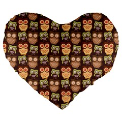 Eye Owl Line Brown Copy Large 19  Premium Heart Shape Cushions