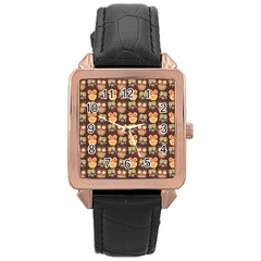 Eye Owl Line Brown Copy Rose Gold Leather Watch
