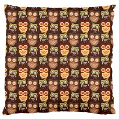 Eye Owl Line Brown Copy Large Flano Cushion Case (One Side)
