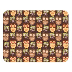 Eye Owl Line Brown Copy Double Sided Flano Blanket (Large)
