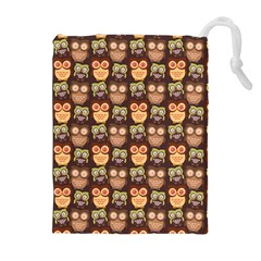 Eye Owl Line Brown Copy Drawstring Pouches (Extra Large)
