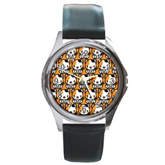 Face Cat Yellow Cute Round Metal Watch
