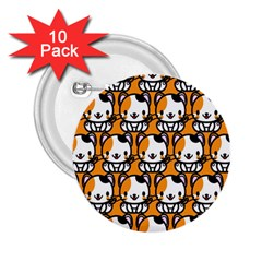 Face Cat Yellow Cute 2.25  Buttons (10 pack)