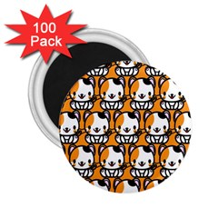 Face Cat Yellow Cute 2.25  Magnets (100 pack)