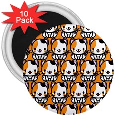 Face Cat Yellow Cute 3  Magnets (10 pack)