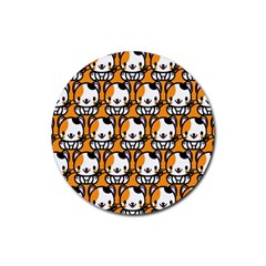 Face Cat Yellow Cute Rubber Coaster (Round)