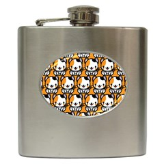 Face Cat Yellow Cute Hip Flask (6 oz)
