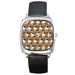 Face Cat Yellow Cute Square Metal Watch