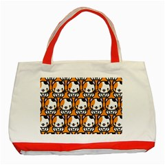 Face Cat Yellow Cute Classic Tote Bag (Red)