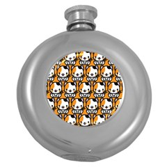 Face Cat Yellow Cute Round Hip Flask (5 oz)