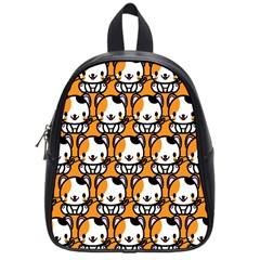 Face Cat Yellow Cute School Bags (Small)