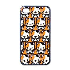 Face Cat Yellow Cute Apple iPhone 4 Case (Black)