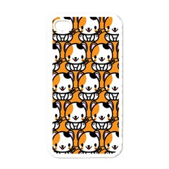 Face Cat Yellow Cute Apple iPhone 4 Case (White)
