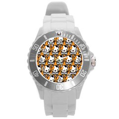Face Cat Yellow Cute Round Plastic Sport Watch (L)