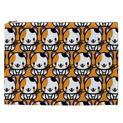 Face Cat Yellow Cute Cosmetic Bag (XXL)