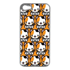 Face Cat Yellow Cute Apple iPhone 5 Case (Silver)