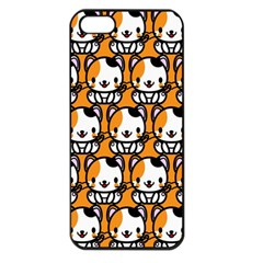 Face Cat Yellow Cute Apple iPhone 5 Seamless Case (Black)