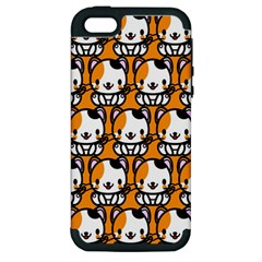 Face Cat Yellow Cute Apple iPhone 5 Hardshell Case (PC+Silicone)