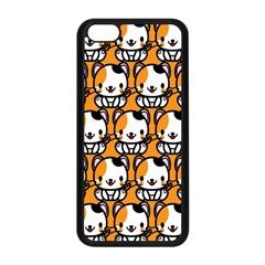 Face Cat Yellow Cute Apple iPhone 5C Seamless Case (Black)