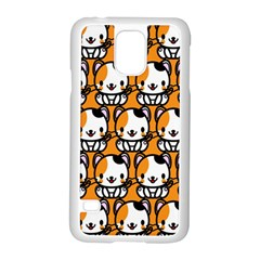 Face Cat Yellow Cute Samsung Galaxy S5 Case (White)