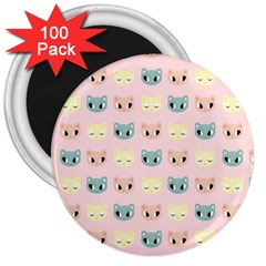 Face Cute Cat 3  Magnets (100 pack)