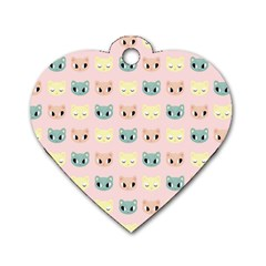 Face Cute Cat Dog Tag Heart (Two Sides)