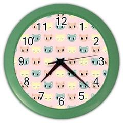 Face Cute Cat Color Wall Clocks