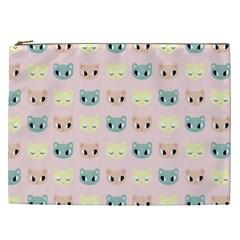 Face Cute Cat Cosmetic Bag (XXL)