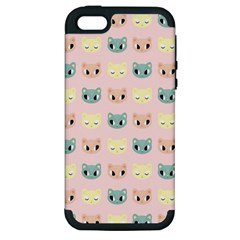 Face Cute Cat Apple iPhone 5 Hardshell Case (PC+Silicone)