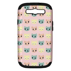 Face Cute Cat Samsung Galaxy S III Hardshell Case (PC+Silicone)
