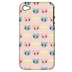 Face Cute Cat Apple iPhone 4/4S Hardshell Case (PC+Silicone)