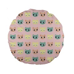 Face Cute Cat Standard 15  Premium Round Cushions