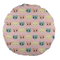 Face Cute Cat Large 18  Premium Round Cushions