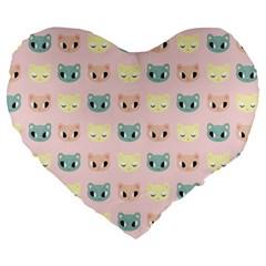 Face Cute Cat Large 19  Premium Heart Shape Cushions
