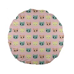 Face Cute Cat Standard 15  Premium Flano Round Cushions