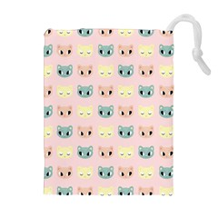 Face Cute Cat Drawstring Pouches (Extra Large)