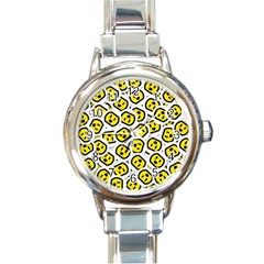 Face Smile Yellow Copy Round Italian Charm Watch