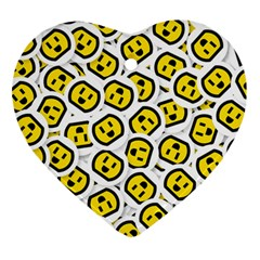 Face Smile Yellow Copy Ornament (Heart)