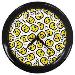 Face Smile Yellow Copy Wall Clocks (Black)