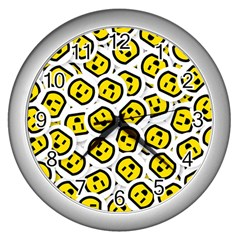 Face Smile Yellow Copy Wall Clocks (Silver)
